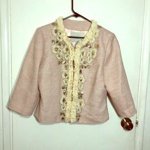 Boston Proper Ruffled Sequin Tweed Blazer